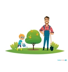 Cartoon characters smiling father and son in vector