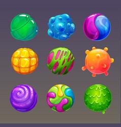 Cartoon colorful slimy balls funny slime bubbles vector