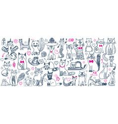 cat doodle set cute sketch animal cartoon funny vector image