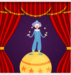 clown in circus juggler and acrobat show actors vector image