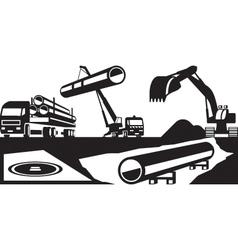 Construction of underground pipelines vector