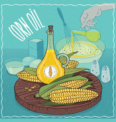 Corn oil used for cooking vector