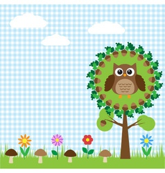 cute owl sitting on oak vector image vector image
