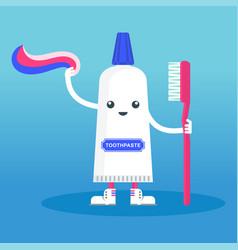 Cute smiling happy toothpaste vector