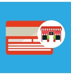 Cute store shopping card vector