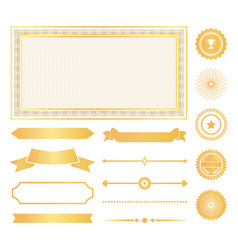 decorative frames gold water marks and ribbons vector image