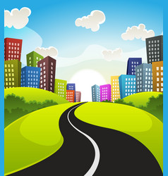 Downtown cartoon landscape vector