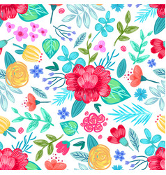 drawn flowers seamless pattern vector image