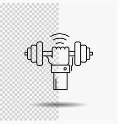 Dumbbell gain lifting power sport line icon on vector