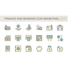 Finance and banking icon set design 48x48 pixel vector