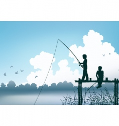 fishing scene vector image