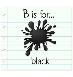 Flashcard letter B is for black vector