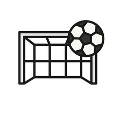 Football goal kick icon ball hit goalpost simple vector