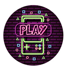 gamepad play neon video game wall vector image