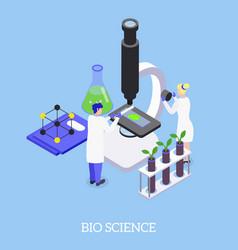 Gmo bio science isometric background vector