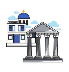 Greek modern and ancient architecture samples vector