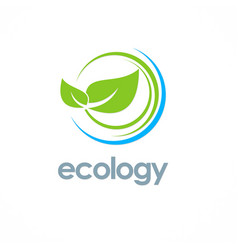 Green leaf ecology logo vector