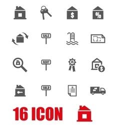Grey real estate icon set vector