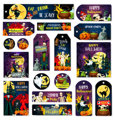 halloween trcik or treat party tags vector image