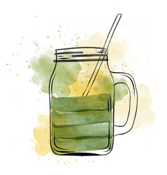Hand drawn green smoothie jar in watercolor style vector