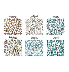 Hand drawn icons set and elements pattern digital vector