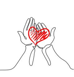 Hands holding a heart vector