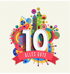 happy birthday 10 year card in german language vector image