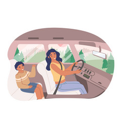 Happy mother with her son sitting inside car flat vector