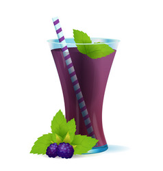 healthy blackberry drink with mint vector image