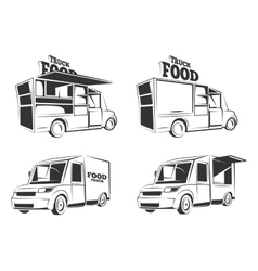 Labels with food trucks vector