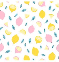 Lemons doodle pattern vector