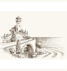 lighthouse landscape sea shore pencil drawing vector image