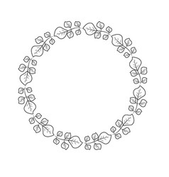 Line beauty circle of leaves decoration design vector