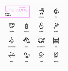 maternity concept - line design icons set vector image