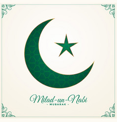 Milad un nabi green moon and star background vector