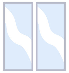 Modern narrow window with transparent glass in a vector