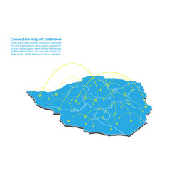 Modern of zimbabwe map connections network design vector