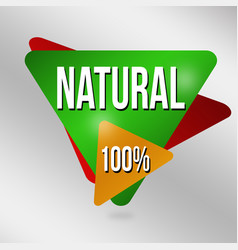 natural 100 sign or label vector image