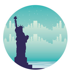 new york statue of liberty city landmark vector image