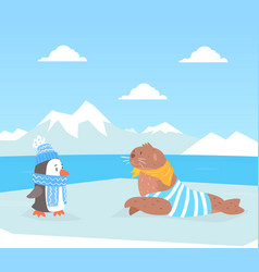 north pole arctic animals on polar landscape cute vector image