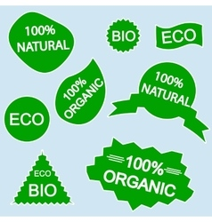 organic bio eco natural stickers vector image