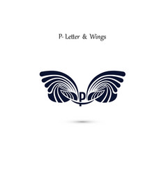 p letter sign and angel wings monogram wing logo vector image