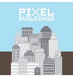 Pixel art buildings set vector image