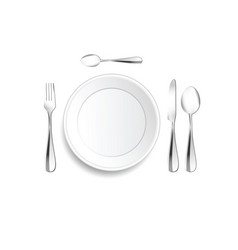 plate and cutlery setting in silver vector image