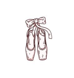 Pointe shoes for ballerina dancer classic ballet vector