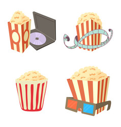 popcorn icon set cartoon style vector image