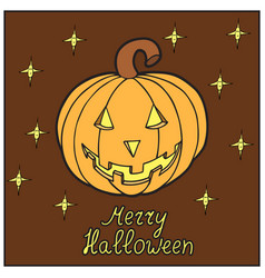 Pumpkin with stars merry halloween vector