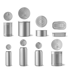 realistic aluminium can beverages and canned food vector image