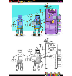 robots fantasy characters group coloring book vector image
