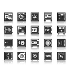 Safe simple black silhouette icons set vector